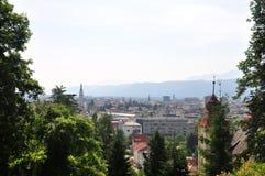 Widok od Kreuzbergl na Klagenfurt, Austria zdjęcie royalty free