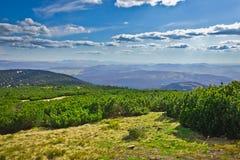 Widok od śladu Pilsko szczyt od Beskidy gór Fotografia Stock