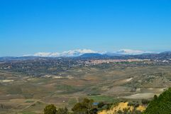 Widok od Mazzarino Piękna Sycylijska sceneria, Caltanissetta, Włochy, Europa zdjęcie stock