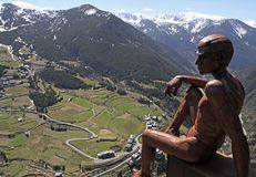 Widok od Mirador Roc Del Quer w Andorra Zdjęcia Stock
