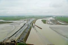 Widok od Mont saint-michel, Normandy, Francja Zdjęcie Stock
