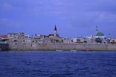 Widok od morza antyczny miasto Izrael - akr Fotografia Stock