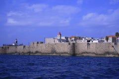 Widok od morza antyczny miasto Izrael - akr Zdjęcia Stock