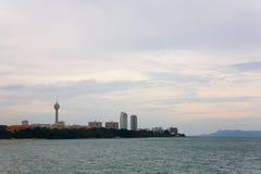 Widok od morza miasto Pattaya w Tajlandia Obraz Royalty Free