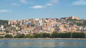 Widok od morza Posillipo wzgórze, Naples w lata afternoo Zdjęcia Stock