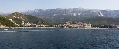 Widok od morza wioska Becici Budva, Montenegro Fotografia Royalty Free