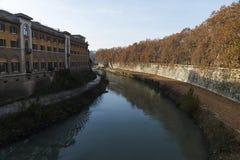 Widok od mosta Fabricius w Rzym Obrazy Stock