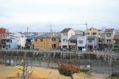 widok od nadokiennego lotniska Ekspresowy HARUKA, Osaka Zdjęcie Stock