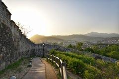 Widok od Naksan parka który lokalizuje w wzgórzu w centrum Seul, Obrazy Royalty Free