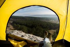 Widok od namiotu fotografia stock