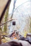 widok od namiotu na ogieniu Obraz Stock