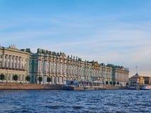 Widok od Neva rzeki zima pałac przy zmierzchem petersburg bridżowy okhtinsky święty Russia Zdjęcia Royalty Free