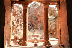 Widok od Ogrodowy Hall, Petra, Jordania Zdjęcia Royalty Free