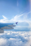 Widok od okno samolot podczas gdy podróżujący Japan dla wakacje Obraz Stock