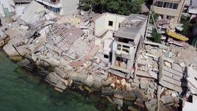 Widok od oko widoku konsekwencje osunięcie się ziemi w mieście Chernomorsk, Ukraina zbiory