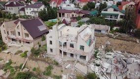 Widok od oko widoku konsekwencje osunięcie się ziemi w mieście Chernomorsk, Ukraina zbiory wideo