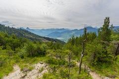 Widok od osunięcie się ziemi terenu przy Gnipen Rossberg górą Szwajcarski Al Obraz Royalty Free