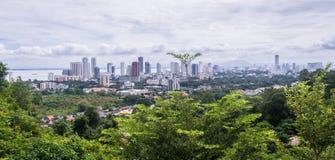 Widok od Penang wzgórza na Georgetown Obrazy Royalty Free