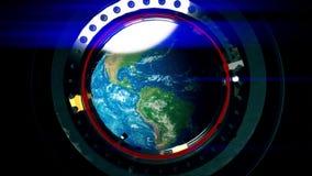 Widok od porthole stacja kosmiczna ziemia zbiory