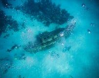 Widok od powierzchni Shipwreck w San Andres, Kolumbia Zdjęcia Royalty Free