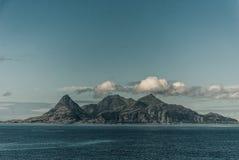 Widok od promu Helligvaer, Bodo, Norwegia Obraz Stock