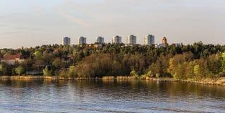 Widok od promu nadmorski w Sztokholm Zdjęcia Stock