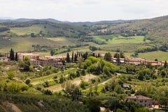 Widok od punktu obserwacyjnego w San Gimignano w toscany w Włochy countyside Fotografia Royalty Free