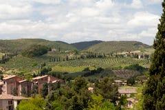 Widok od punktu obserwacyjnego w San Gimignano w toscany w Włochy countyside Zdjęcia Stock