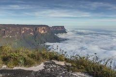 Widok od Roraima tepui na Kukenan tepui przy mgłą - Venez Fotografia Stock