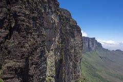 Widok od Roraima Tepui Potrójna granica, Venezu - Stołowa góra - Zdjęcie Stock