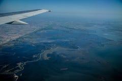 Widok od samolotu bagienni miejsca fotografia stock