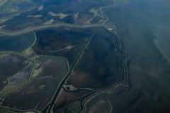 Widok od samolotu bagienni miejsca obrazy royalty free