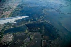 Widok od samolotu bagienni miejsca fotografia royalty free