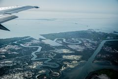 Widok od samolotu bagienni miejsca obraz royalty free
