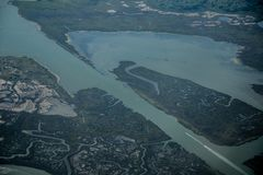 Widok od samolotu bagienni miejsca zdjęcie royalty free