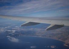 Widok od samolotu na wybrzeżu Hiszpania Zdjęcia Stock