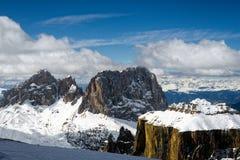 Widok od Sass Pordoi w Górnej części Val Di Fassa zdjęcie stock