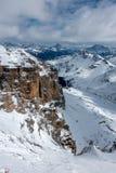 Widok od Sass Pordoi w Górnej części Val Di Fassa zdjęcia stock