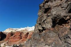 Widok od schronienia na Oia, piękna wioska na powulkanicznej wyspie Santorini Fotografia Royalty Free