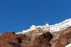 Widok od schronienia na Oia, piękna wioska na powulkanicznej wyspie Santorini Zdjęcie Stock