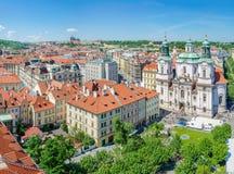 Widok od Starego Grodzkiego urzędu miasta północni zachody, Praga Obrazy Royalty Free