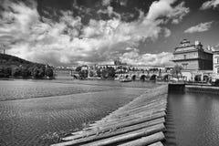 Widok od Strelecky wyspy na Novotny footbridge Fotografia Royalty Free