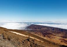 Widok od szczytu Mt Teide, Tenerife, Hiszpania Fotografia Stock