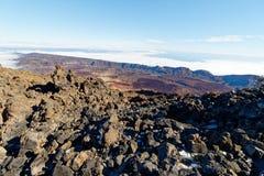 Widok od szczytu Mt Teide, Tenerife, Hiszpania Obrazy Stock