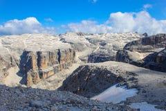 Widok od szczytu Sass Pordoi, dolomity, Włochy zdjęcie stock