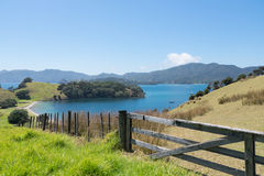 Widok od Urupukapuka wyspy w zatoce wyspy, Nowa Zelandia, NZ Zdjęcie Stock