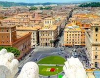 Widok od Vittoriano pałac na Roma Fotografia Stock