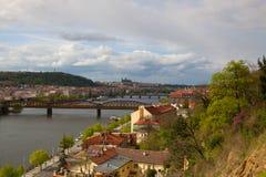 Widok od Vysehrad po deszczu, Praga, republika czech Obrazy Royalty Free