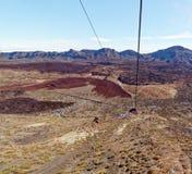 Widok od wagonu kolei linowej Mt Teide, _Tenerife, Hiszpania Zdjęcia Stock