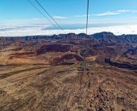 Widok od wagonu kolei linowej Mt Teide, _Tenerife, Hiszpania Obraz Stock